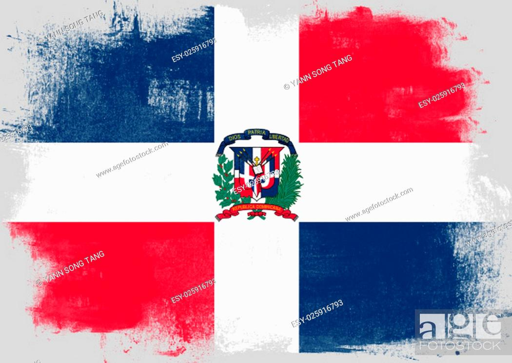 Stock Photo: Flag of Dominican Republic painted with brush on solid background,.