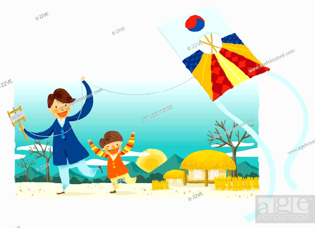 Stock Photo: Portrait of father and son flying kite.