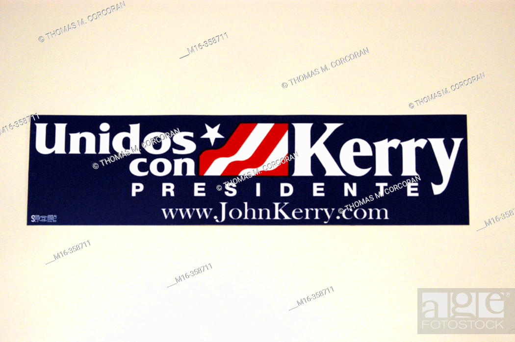 Stock Photo: 2004 presidential campaign: A Kerry bumper sticker in Spanish.