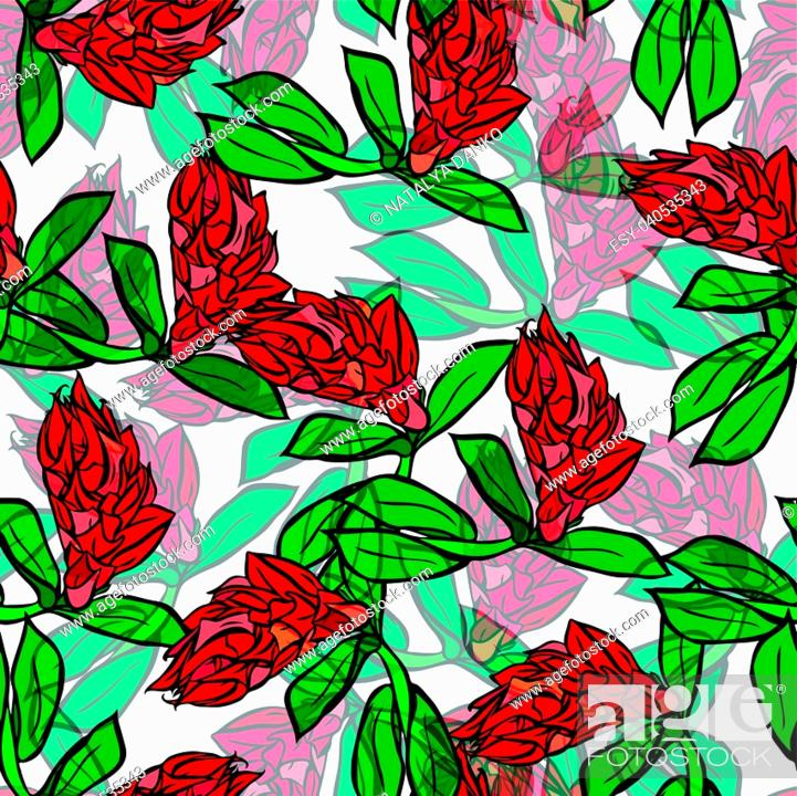 Stock Vector: branch with red flowers and green leaves, seamless pattern isolated on white background.