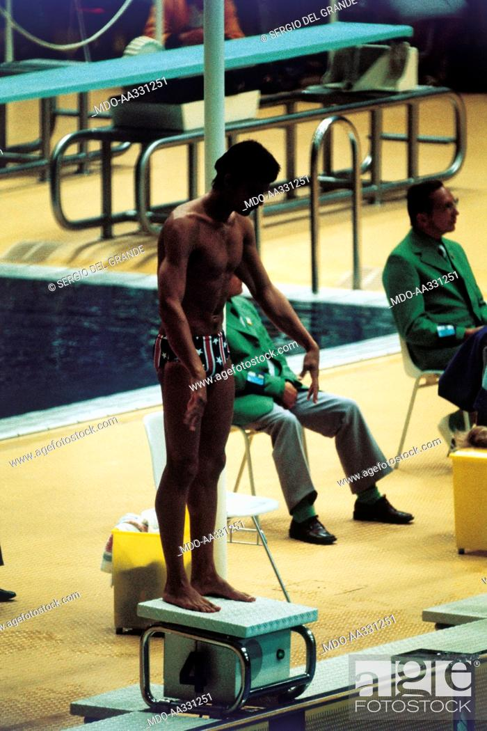 Stock Photo: Mark Spitz on the starting blocks of the final 200 metres freestyle. The US swimmer Mark Spitz at the starting blocks of the final 200 metres freestyle.