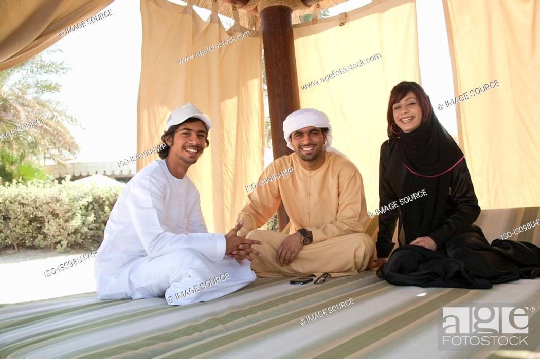 Stock Photo: Middle Eastern people looking at camera.