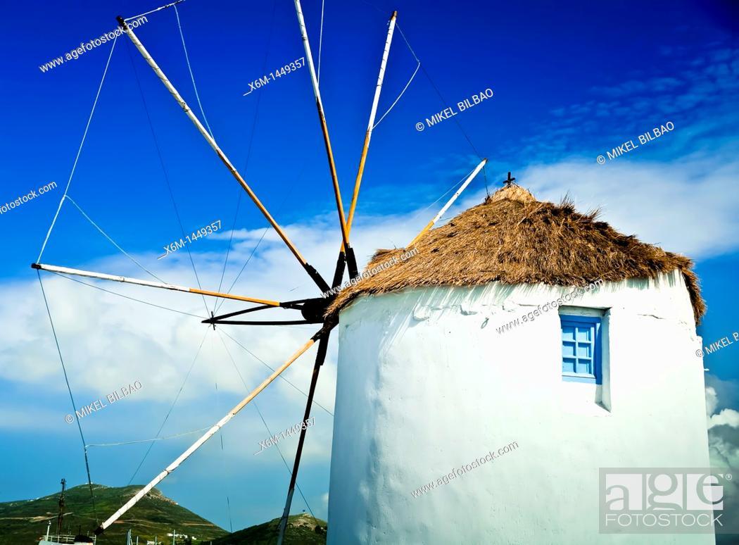 Stock Photo: windmill in Parikia village  Paros island, Cyclades islands, Aegean Sea, Greece, Europe.