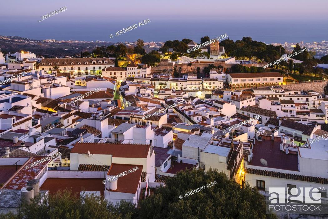 Stock Photo: Cityscape. White village of Mijas Pueblo at dusk. Malaga province, Costa del Sol. Andalusia southern Spain, Europe.
