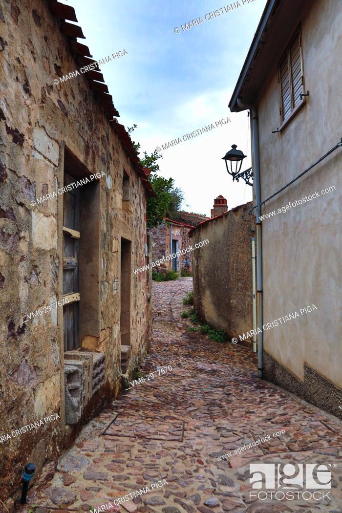 Stock Photo: a cobbled street in the old village of Bortigali, Sardinia, italy.