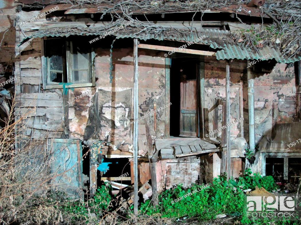 Stock Photo: old abandoned derelict property in rome italy.