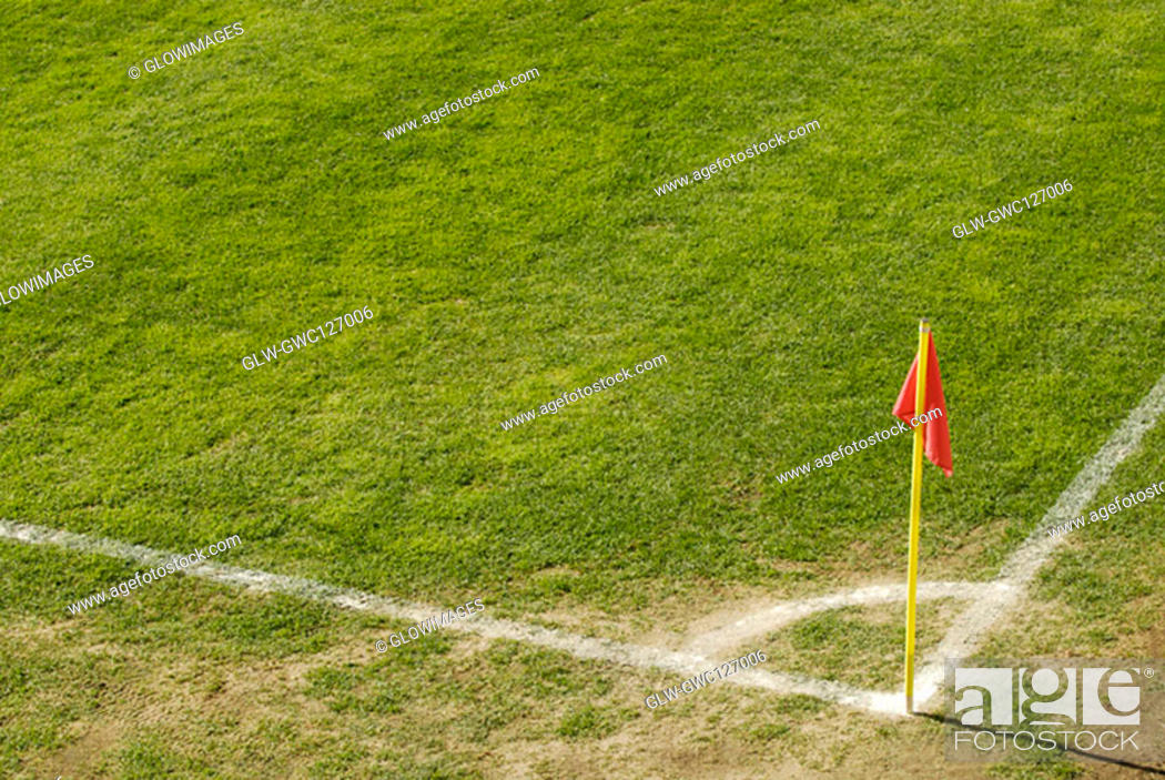 Stock Photo: High angle view of a flag on a soccer field.