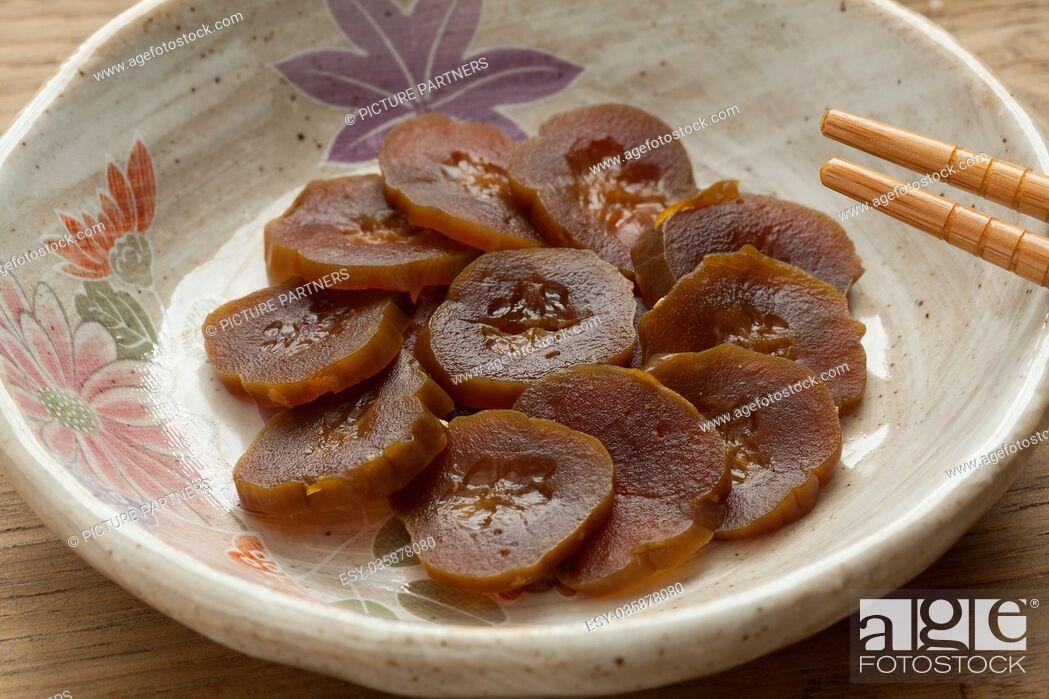 Stock Photo: Dish with Narazuke pickles leesed in sake.