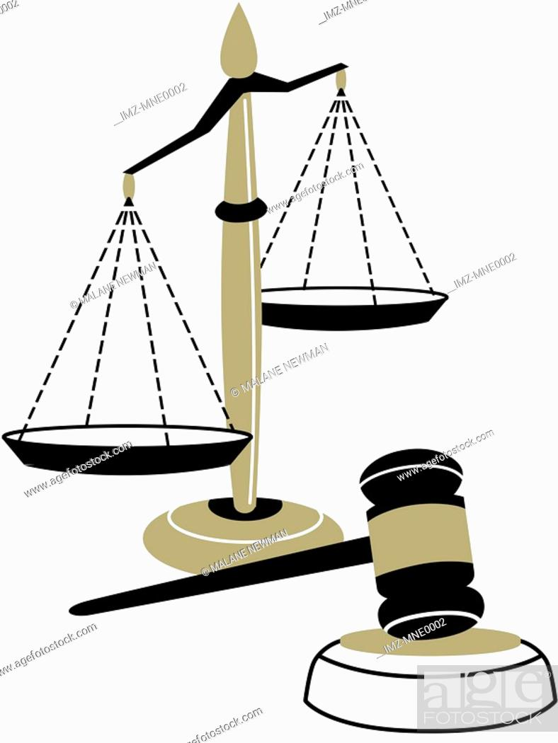 Stock Photo: An illustration of the scales of justice and a judges gavel.