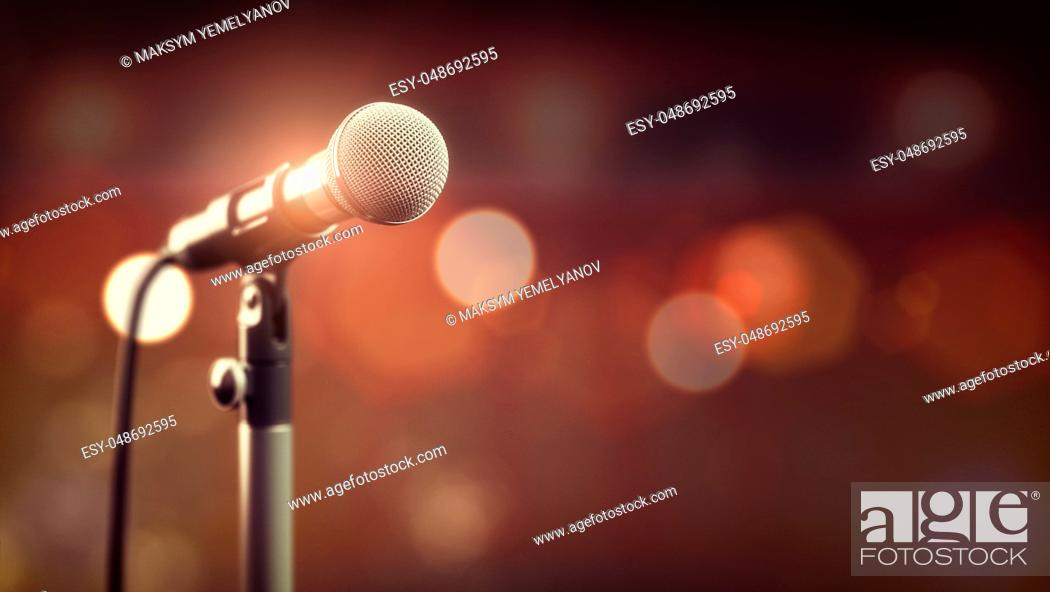 Imagen: Microphone on abstract background. Audio, music, multimedia. 3d illustration.