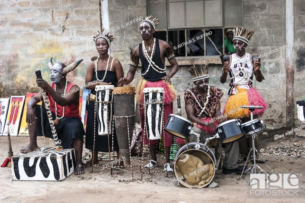 Stock Photo: Band troupe greeting cruise arrivals at port. Zanzibar City, Zanzibar, Tanzania, Africa.