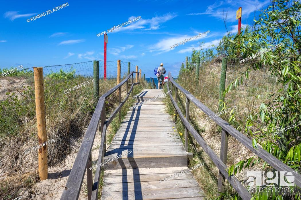 Stock Photo: Descent to the beach in Miedzywodzie village over Baltic Sea in West Pomeranian Voivodeship in Poland.