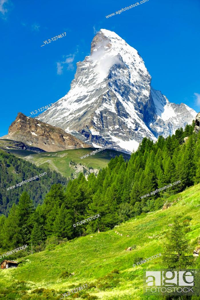 Stock Photo: Matterhorn mountain peak - Swiss Alps - Switzerland.
