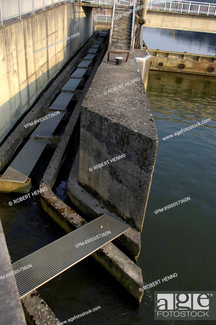 Stock Photo: FISH LADDERMEUSE RIVER  DE MAAS  - BELGIUMDINANT - DAM.