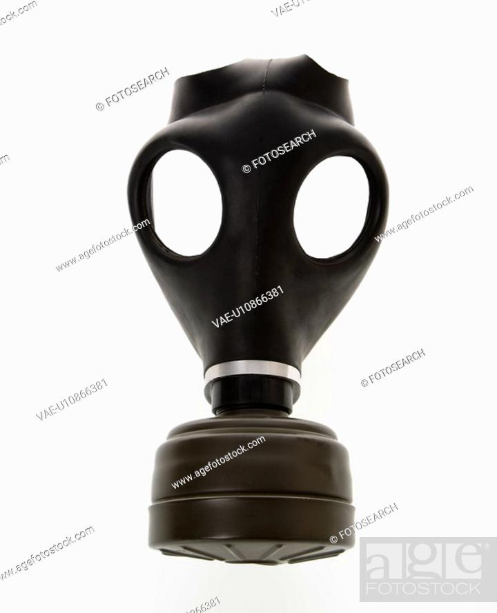 Stock Photo: Black gas mask.