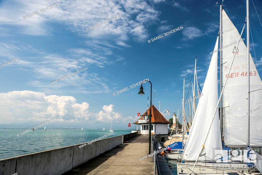 Stock Photo: Lindau harbour, Lindau, Lake Constance, Bavaria, Germany.