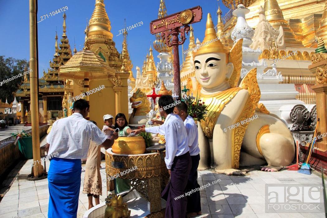 Stock Photo: Myanmar, Burma, Yangon, Rangoon, Shwedagon Pagoda, people.