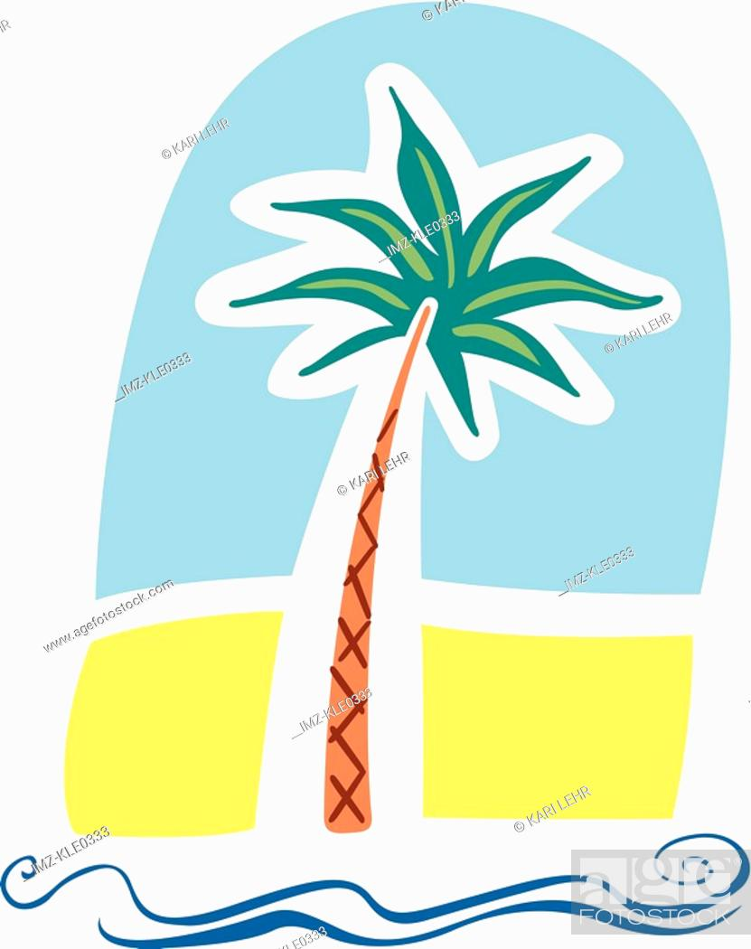 Stock Photo: A palm tree on the beach by the sea.