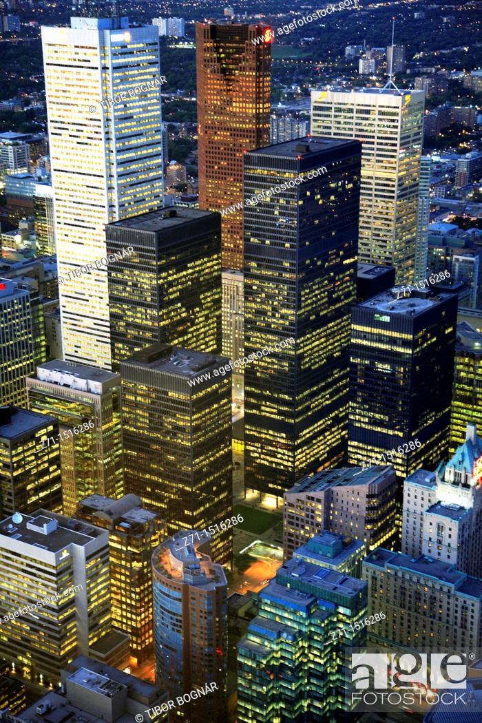 Stock Photo: Canada, Ontario, Toronto, downtown skyline, aerial view.