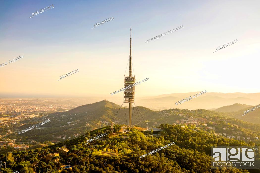 Stock Photo: Torre de Collserola - TV tower in Barcelona, Spain.
