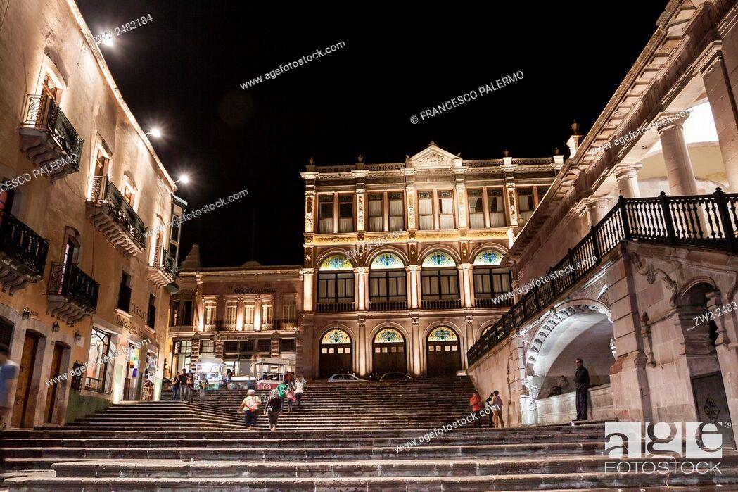 Stock Photo: City theatre Fernando Calderón with night lighting. Zacatecas, ZAC. Mexico.