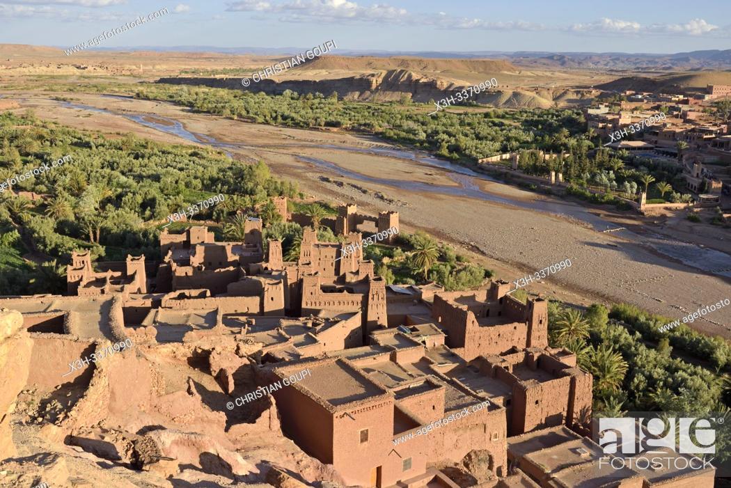 Stock Photo: Ksar of Ait-Ben-Haddou, Ounila River valley, Ouarzazate Province, region of Draa-Tafilalet, Morocco, North West Africa.
