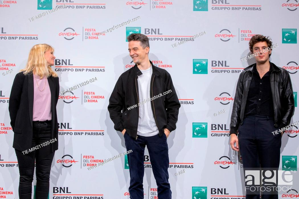 """Stock Photo: Katell Quillevéré, Hélier Cisterne, Vincent Lacoste attend the photocall of the movie """"""""De Nos Freres Blesses"""""""" during the 15th Rome Film Festival on October 21."""