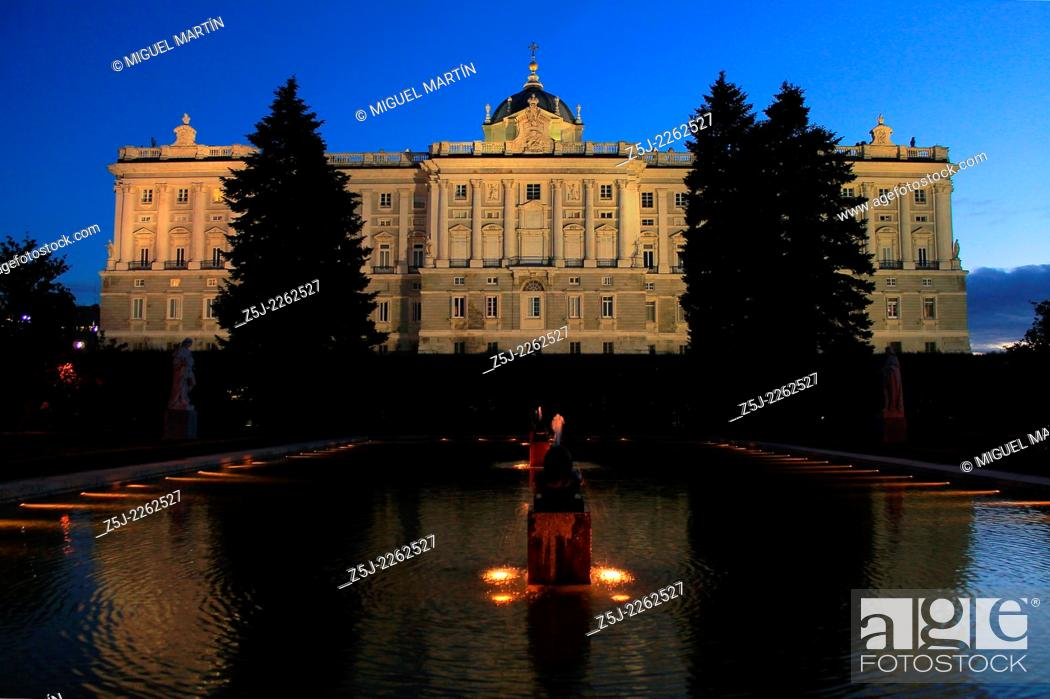 Stock Photo: Northern façade of the Palacio Real (Royal Palace) of Madrid from Sabatini Gardens, created in the mid-20th century where Italian Francesco Sabatini had built.