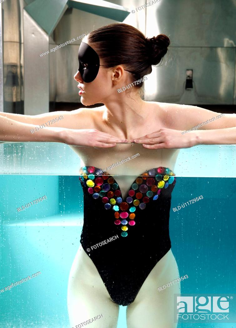 Stock Photo: Woman portrait in spa swimming pool.