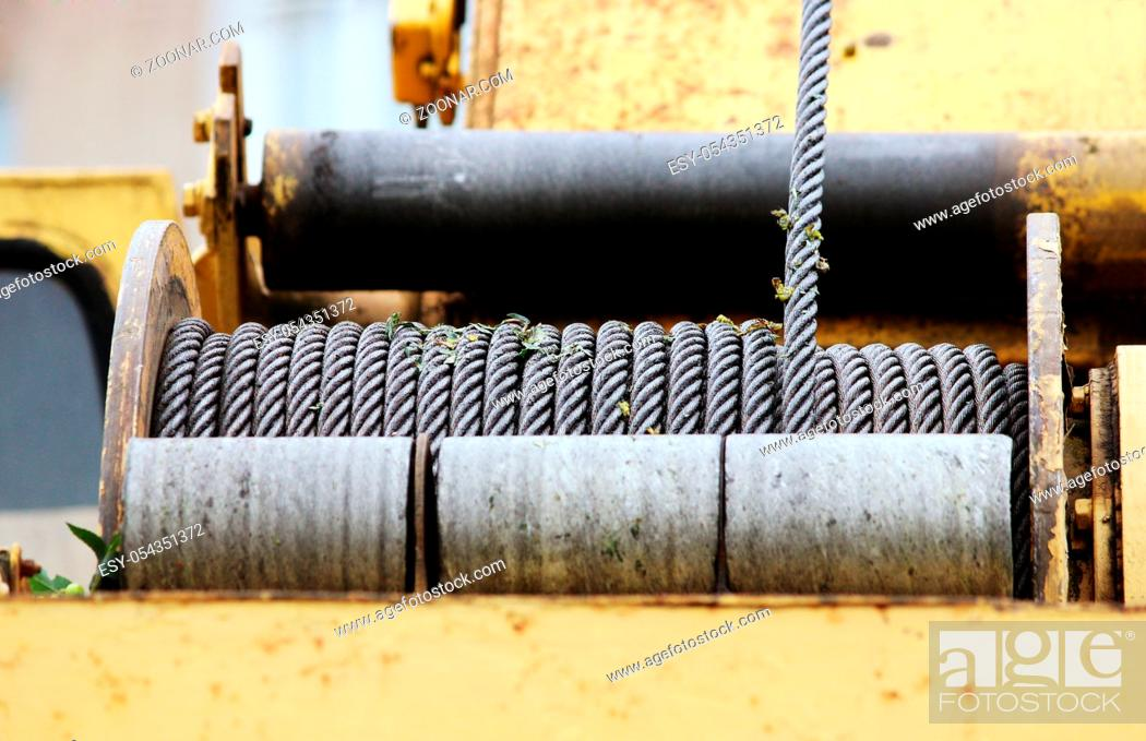 Stock Photo: powerful winch on the special equipment construction cranes.