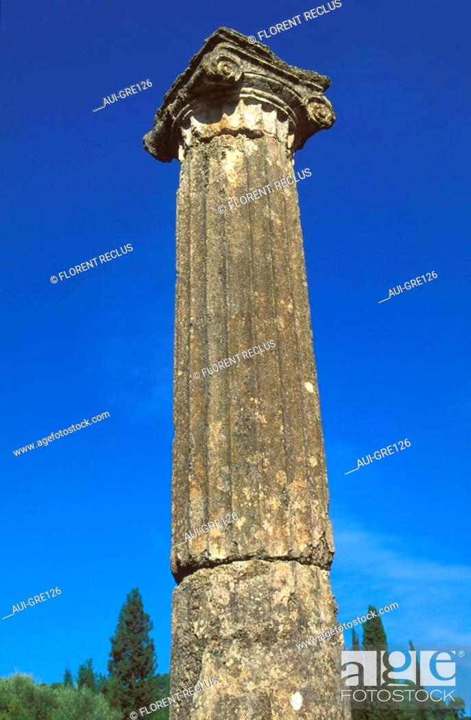 Stock Photo: Greece - The Pelonnese - Olympia - Palestra - Ionic Column.