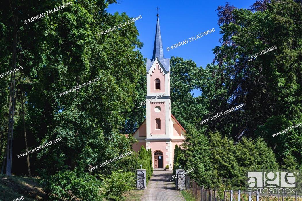 Stock Photo: Saint Joseph church in Wicimice village within Gryfice County, West Pomeranian Voivodeship of Poland.
