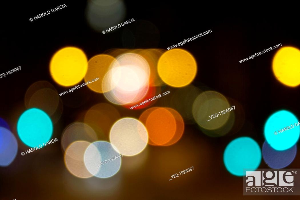 Stock Photo: Abstract circular bokeh of car lights at night in New York City, New York  USA.