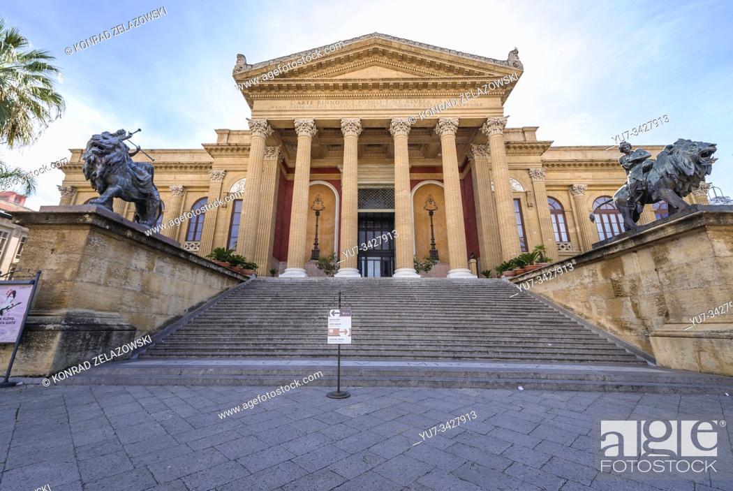 Stock Photo: Teatro Massimo Vittorio Emanuele on Piazza Verdi in Palermo city of Southern Italy, the capital of autonomous region of Sicily.