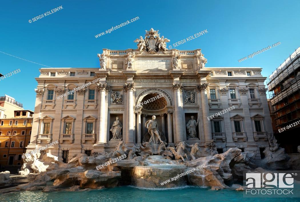 Stock Photo: Beautiful Fountain de Trevi in Rome, Italy.