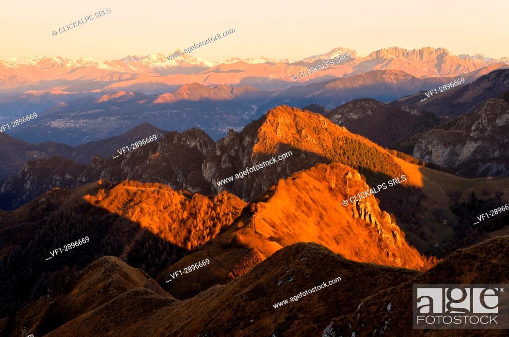 Stock Photo: Profile at dawn, Brescia Prealpi, Brescia province, Lombardy district, Italy, Europe.