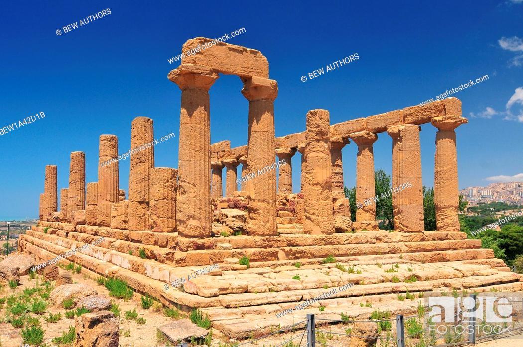 Stock Photo: Ancient greek Temple of Juno Agrigento Sicily Italy.
