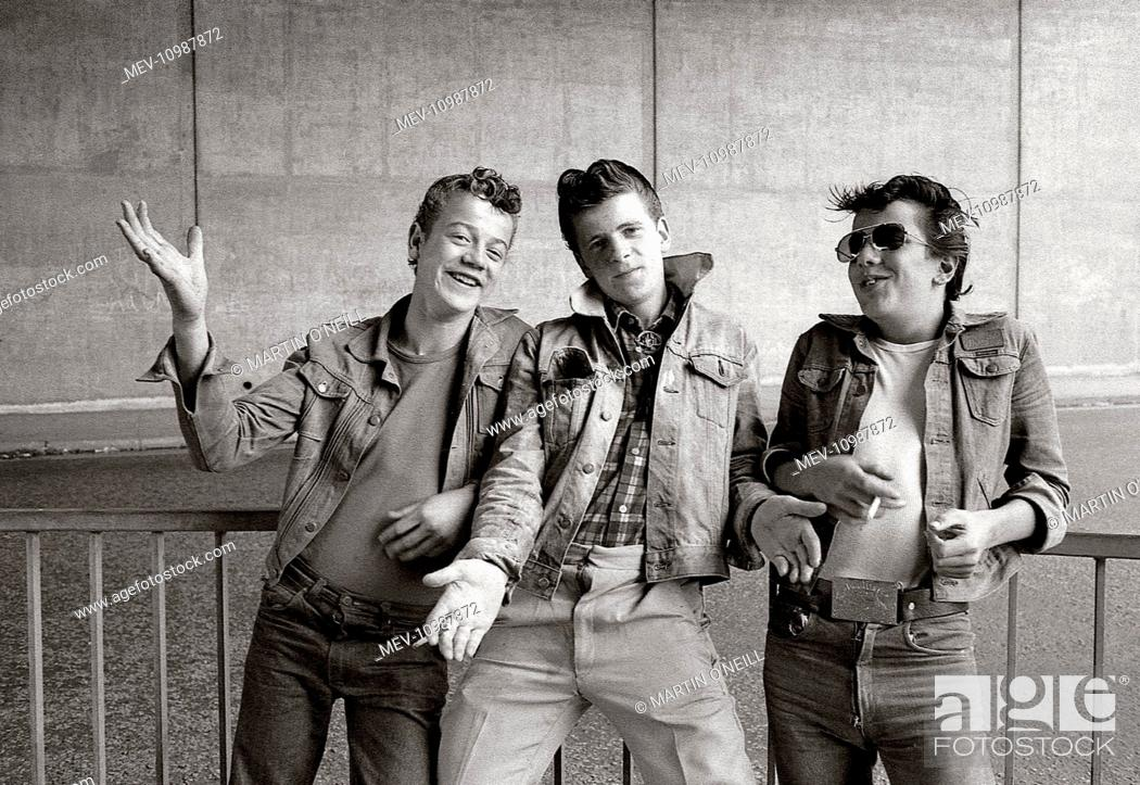 Amazing Three Boys With Teddy Boy Hairstyles And Casual Clothes Pose Under Natural Hairstyles Runnerswayorg