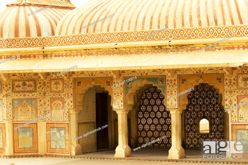 Stock Photo: Facade of a fort, Amber Fort, Jaipur, Rajasthan, India.