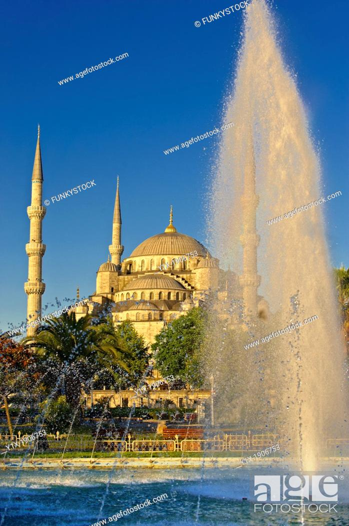 Stock Photo: The Sultan Ahmed Mosque Sultanahmet Camii or Blue Mosque, Istanbul, Turkey  Built from 1609 to 1616 during the rule of Ahmed I.
