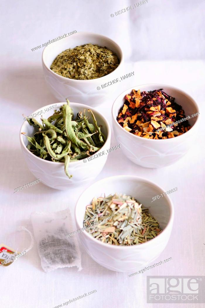 Stock Photo: Lemon grass, lemon verbena, fruit tea and mate tea.