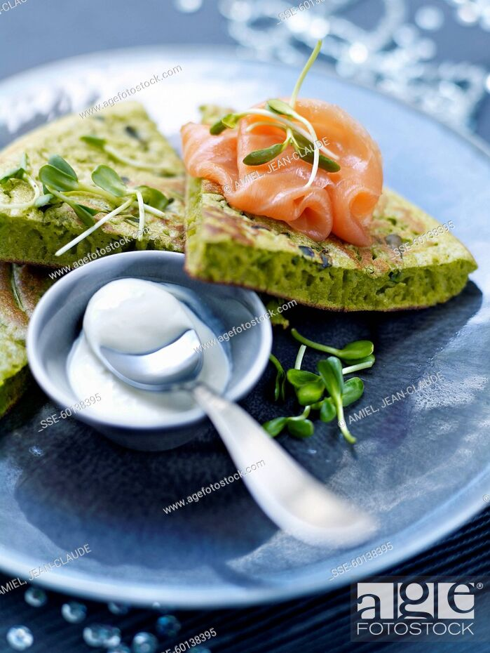 Stock Photo: Green omelette with smoked salmon.