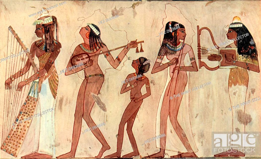 Egyptian Arched Harp Lute Double Oboe And Lyre Tomb Painting In Veset Thebes C Stock Photo Picture And Rights Managed Image Pic Hez 2693686 Agefotostock