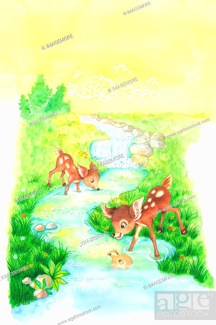 Stock Photo: Animal, Watercolor painting of two deer playing along the brook.