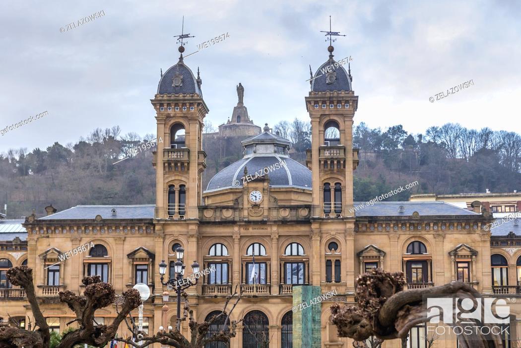 Stock Photo: City Hall in Alderdi Eder park in San Sebastian coastal city located in the Basque Autonomous Community, Spain.