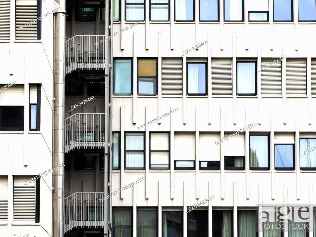 Photo de stock: Detail of the Italian Society of Authors and Publishers building in the EUR district of Rome - Italy.