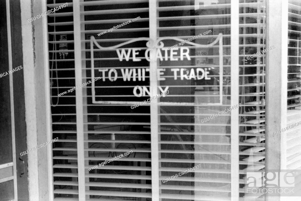 Stock Photo: Restaurant with Sign We Cater to White Trade Only, Lancaster Ohio, USA, Ben Shahn, Farm Security Administration, August 1938.