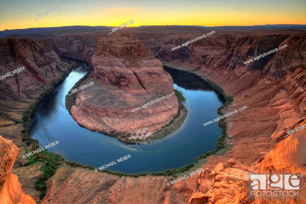 Stock Photo: Horseshoe Bend or King Bend, a meandering bend of the Colorado River, at sunset, Page, Glen Canyon National Recreation Area, Arizona, United States of America.