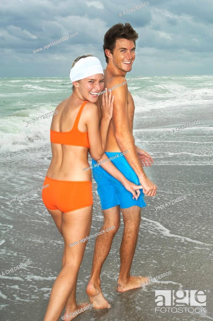 Stock Photo: Couple on the beach.