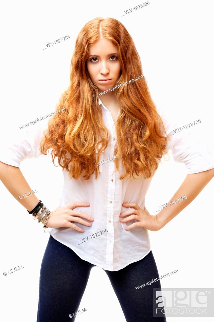 Stock Photo: redheaded girl.